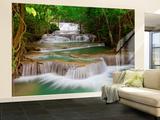 Deep Forest Waterfall Non-Woven Vlies Wallpaper Mural Mural de papel pintado
