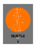 Seattle Orange Subway Map Posters by  NaxArt