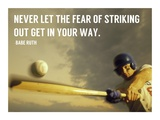 The Fear of Striking Out -Babe Ruth Art by  Sports Mania