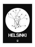Helsinki White Subway Map Art by  NaxArt
