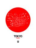 Tokyo Red Subway Map Giclée-Premiumdruck von  NaxArt