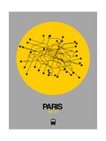 Paris Yellow Subway Map Art by  NaxArt