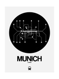 Munich Black Subway Map Poster por  NaxArt