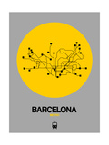 Barcelona Yellow Subway Map Poster par  NaxArt