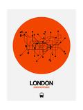 London Orange Subway Map Kunstdrucke von  NaxArt