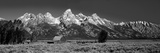 Barn on Plain before Mountains, Grand Teton National Park, Wyoming, USA Fotografisk tryk af Panoramic Images,