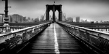 Fog over the Brooklyn Bridge, Brooklyn, Manhattan, New York City, New York State, USA Fotografisk tryk