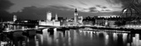 Buildings Lit Up at Dusk, Big Ben, Houses of Parliament, London, England Premium fototryk