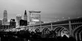 Bridge in a City Lit Up at Dusk, Detroit Avenue Bridge, Cleveland, Ohio, USA Photographic Print