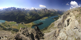 Panoramic View of Lakes, St. Moritz, Engadine, Canton of Graubunden, Switzerland, Europe Photographic Print by Roberto Moiola