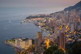 View of Monaco from Above at Dusk, Monaco, Mediterranean, Europe Fotografisk trykk av Frank Fell