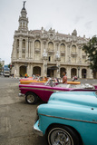Vintage American Cars Parked Outside the Gran Teatro (Grand Theater), Havana, Cuba Photographic Print by Yadid Levy