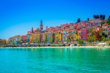 Skyline of Menton, Alpes-Maritimes, Cote D'Azur, Provence, French Riviera Photographic Print by Laura Grier