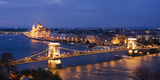 View over River Danube, Chain Bridge and Hungarian Parliament Building at Night Photographic Print by Ben Pipe