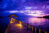 Sunset over the Pier, Hotel Seraya, Flores Island, Indonesia, Southeast Asia, Asia Reproduction photographique par Laura Grier