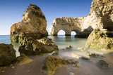 Sunrise on the Cliffs and Turquoise Water of the Ocean, Praia Da Marinha, Caramujeira Photographic Print by Roberto Moiola
