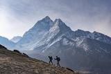 Trekkers Climb a Small Peak Above Dingboche in the Everest Region in Time to See the Sunrise Photographic Print by Alex Treadway
