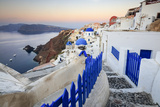 The Last Light of Dusk over the Aegean Sea Seen from the Typical Village of Oia, Santorini Photographic Print by Roberto Moiola