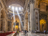 Interior of St. Peters Basilica with Light Shafts Coming Through the Dome Roof, Vatican City Photographic Print by Neale Clark