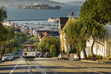 San Francisco City Tram Climbs Up Hyde Street with Alcatraz Beyond, San Francisco, California Photographic Print by Garry Ridsdale
