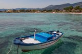 Traditional Colourful Fishing Boat Moored at the Seaside Resort of Mondello, Sicily, Italy Impressão fotográfica por Martin Child