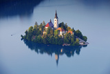 Slovenia, Julian Alps, Upper Carniola, Lake Bled. Aerial View of the Island on Lake Bled Photographic Print by Ken Scicluna