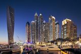 Dubai Marina at Twilight with the Cayan Tower (Infinity Tower) Photographic Print by Cahir Davitt