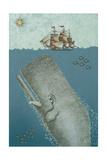 Whale And Ship 2 Giclée-tryk af Erin Clark