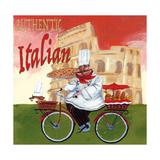 Bike Chef Colosseum Olive Giclee Print by Gregg DeGroat