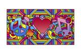 Peace Love Music B Stampa giclée di Howie Green