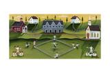 Baseball Game School Church Village Giclee Print by Cheryl Bartley