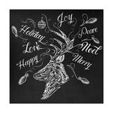 Christmas Reindeer Wrap Giclee Print by CJ Hughes
