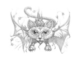 Bat Cat Mask Pencil Giclee Print by Jeff Haynie