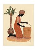 Kneeling Right Weaving Basket - Orange Dress Lámina giclée por Judy Mastrangelo