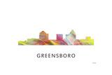 Greensboro North Carolina Skyline Reproduction procédé giclée par Marlene Watson