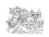 Cat Family Portrait Pencil Giclee Print by Jeff Haynie