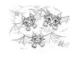 Bat Cats Pencil Giclee Print by Jeff Haynie