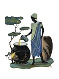 Woman Pouring in Blue Lámina giclée por Judy Mastrangelo