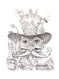 Steampunk Cat 2 pencil Giclee Print by Jeff Haynie