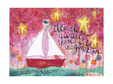 Adventure Awaits - Sailboat Giclée-Druck von Jennifer McCully