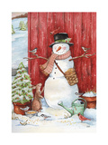 Snowman with Birds and Flurries Giclee Print by Melinda Hipsher