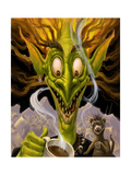 Fantasy Troll Too Much Coffee Giclee Print by Jeff Haynie
