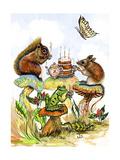 Mushroom Birthday Tea Party Giclee Print by Judy Mastrangelo