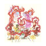 Spring Bunny Dance Impressão giclée por Judy Mastrangelo