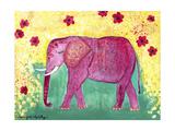 Pink Elephant Giclée-tryk af Jennifer McCully