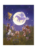 Little Animals Looking at the Moon Giclee Print by Judy Mastrangelo