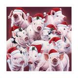 Christmas Piggies Giclée-Druck von Jenny Newland