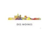 Des Moines Iowa Skyline Reproduction procédé giclée par Marlene Watson