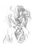 Aquatic Seahorse Warrior Pencil Giclee Print by Jeff Haynie