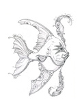 Aquatic Fish 1 Pencil Giclee Print by Jeff Haynie